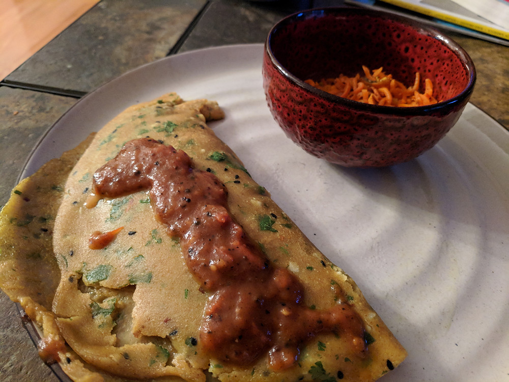 Indian Crepes with Tomato Chutney