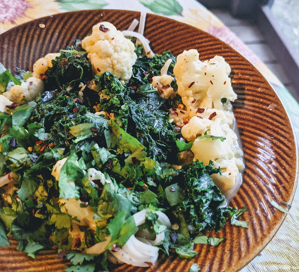Cauliflower and Coconut Laksa with Kale and Rice Noodles