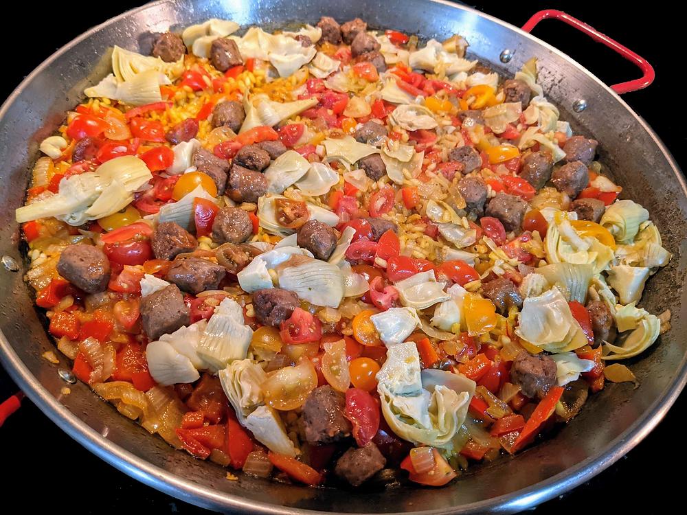 Artichoke and Beyond Sausage Paella