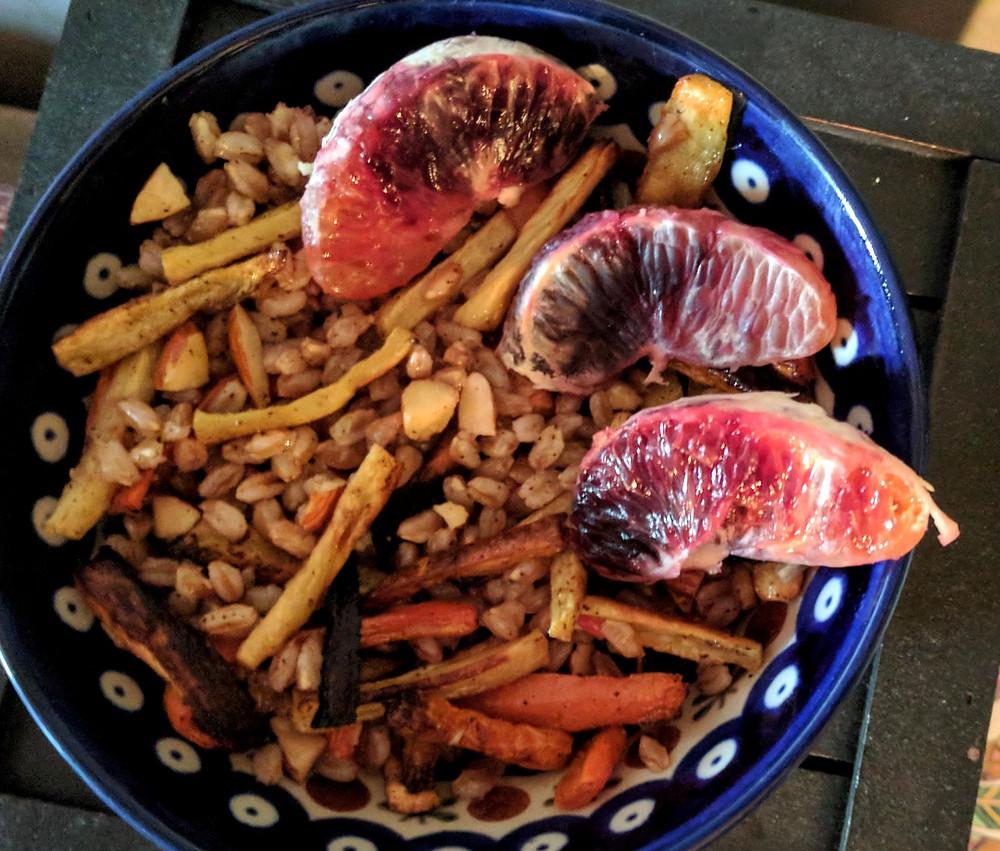 Blood Orange, Roasted Root Vegetable, and Farro Salad