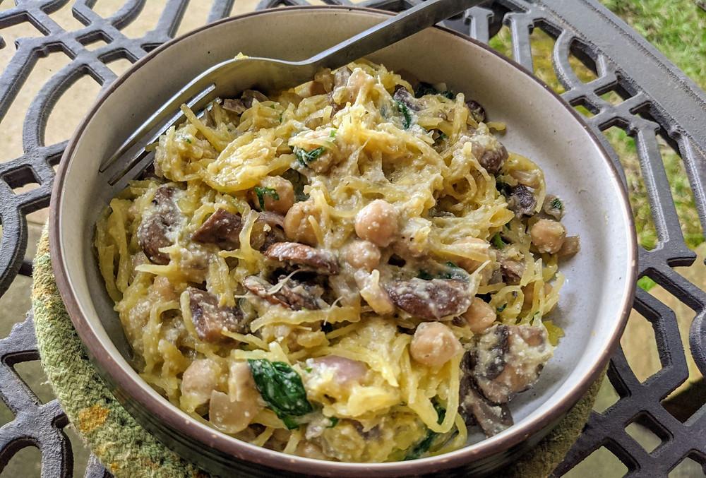 Spaghetti Squash with Creamy Spinach & Artichoke Sauce