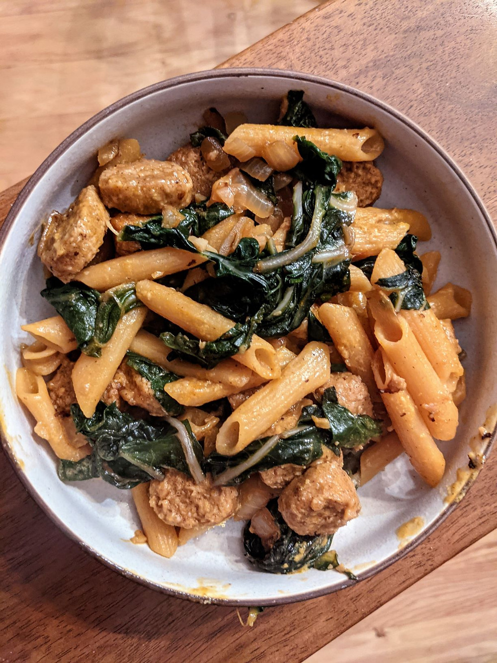 Penne with Chard and Beyond Meat Sausage