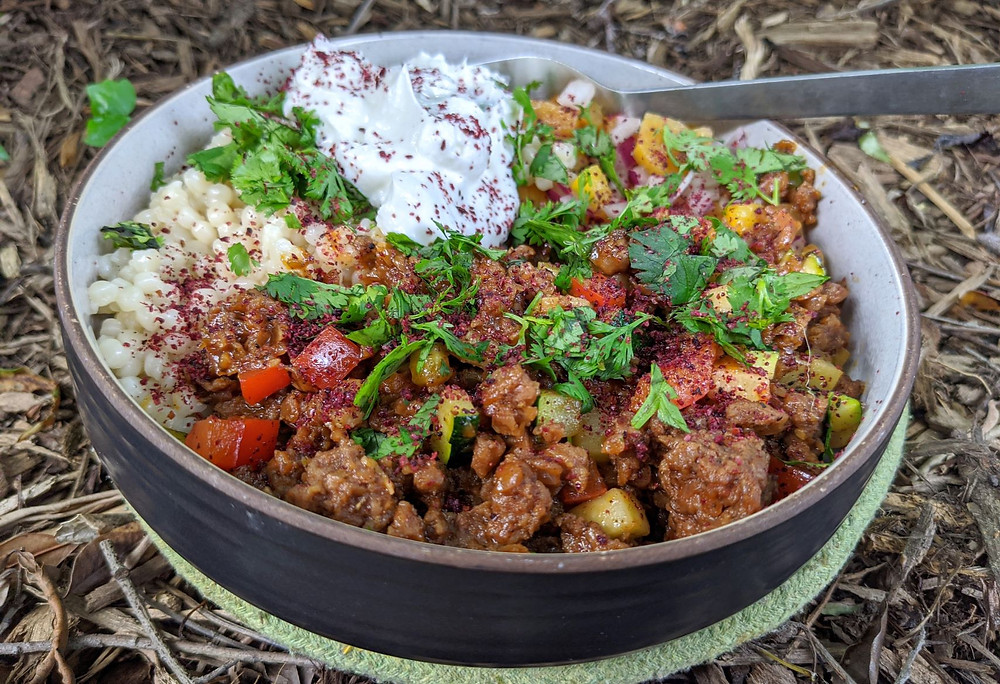 Middle Eastern Beyond Meat Bowl with Peach Salsa & Couscous