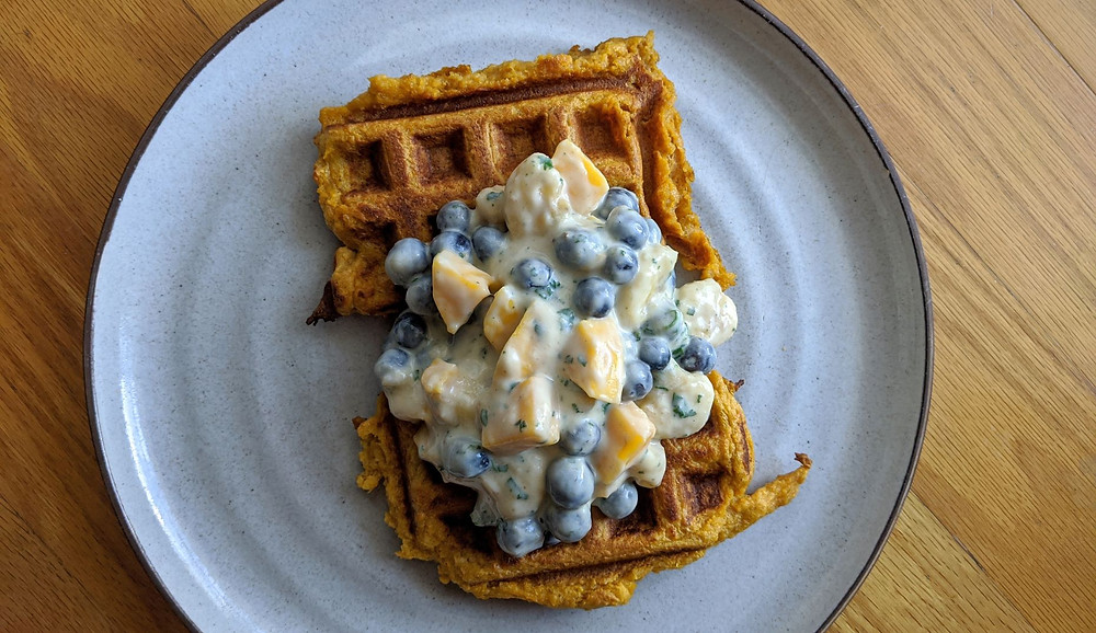 Lemon-Garlic Sweet Potato Waffles with Blueberry, Banana, and Mango Salad
