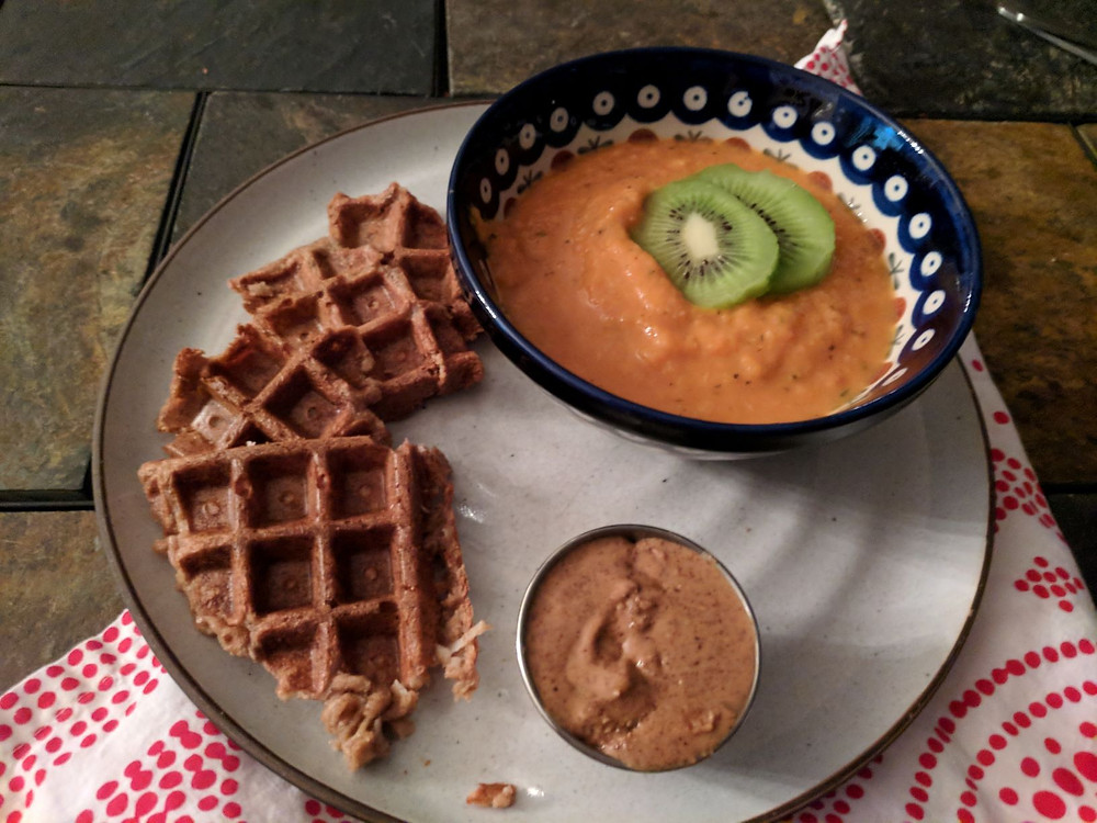 coconut waffle mango soup