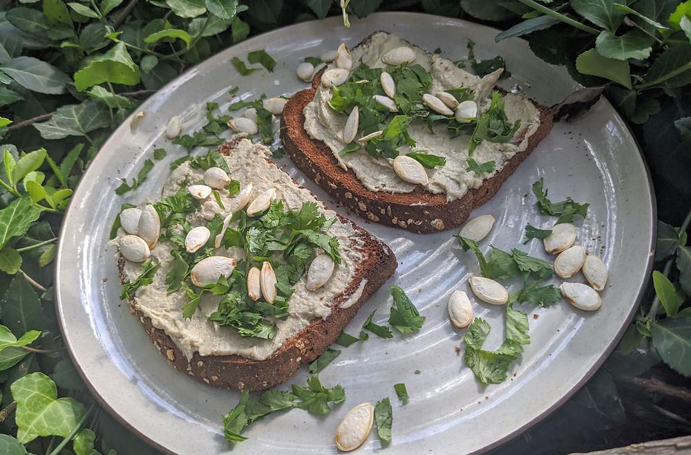 Plantain & Summer Squash Hummus Toast