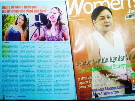 Diane gets featured on Women's Journal (Philippines) October 2017 issue!