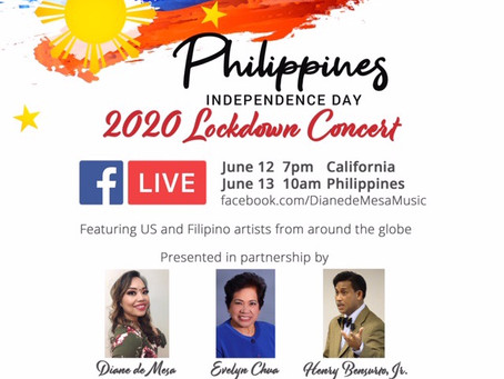 SAVE THE DATE! Philippine Independence Day lockdown concert on June 12 via Facebook Live!