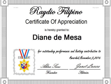 """Certificate of Appreciation"" from Raydio Filipino (Tokyo, JAPAN)"