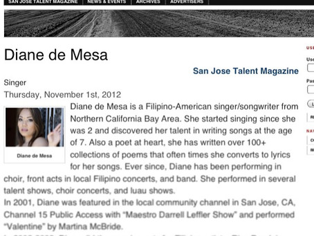 Thank you San Jose Talent Magazine for the feature!
