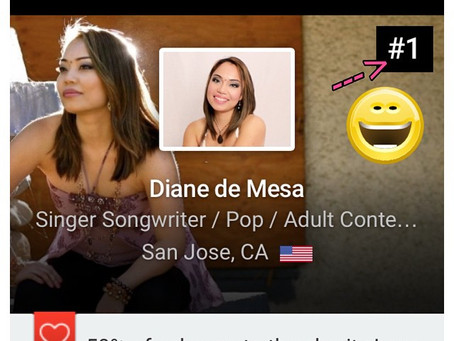 #1 in Reverbnation Singer-Songwriter Charts in San Jose, California!