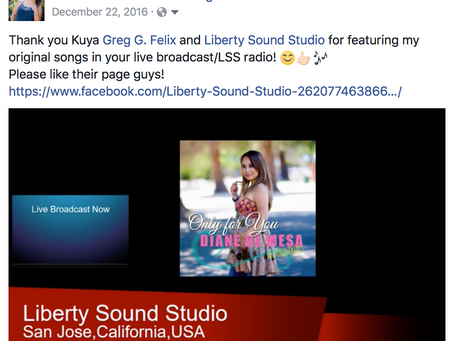 Diane de Mesa's music on Liberty Sound Studio Live Broadcast