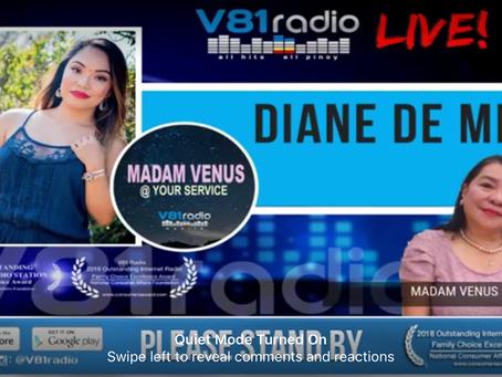 Madam Venus at your service Guesting at V81 Radio!