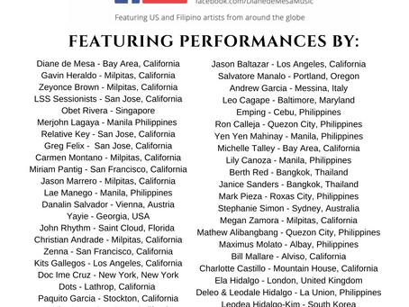 Artists list for 2020 Lockdown Concert!