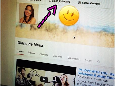 Diane's Youtube channel reaches 5 Million views!