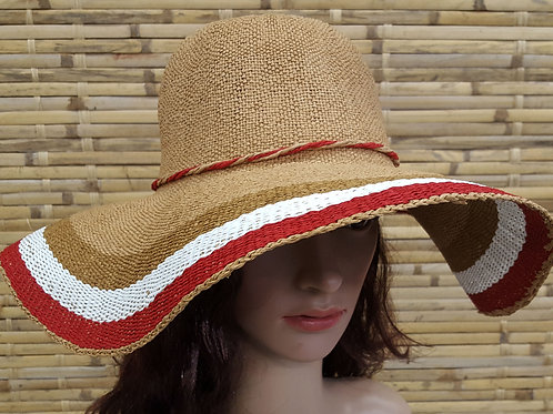 107S19 Americana Women's summer hats for Beach vacation travel natural straw
