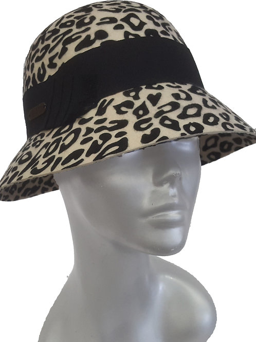 Animal Print Cloche - Style #513F19  - Albino Tiger & Leopard