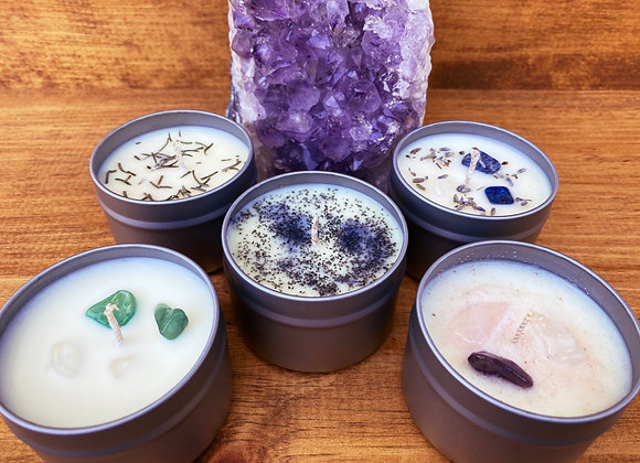 Altar soy candles - essential oils - crystals - homegrown herbs