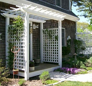 Vinyl Pergola Top Arbor With Heavy English Sides