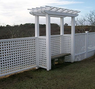 Vinyl Pergola TOop Arbor WithEnglishLattice