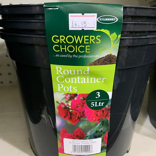 Round container pots pack of 3