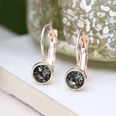 Rose & Smoky Crystal Earring