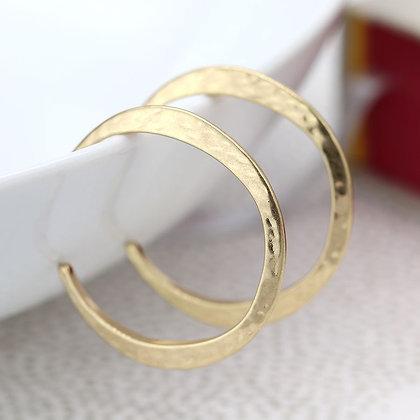Gold Hammered Hoop