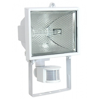 Прожектор симметричный с ГЛН лампой, ИО-500W, с детектором движения белый IP54