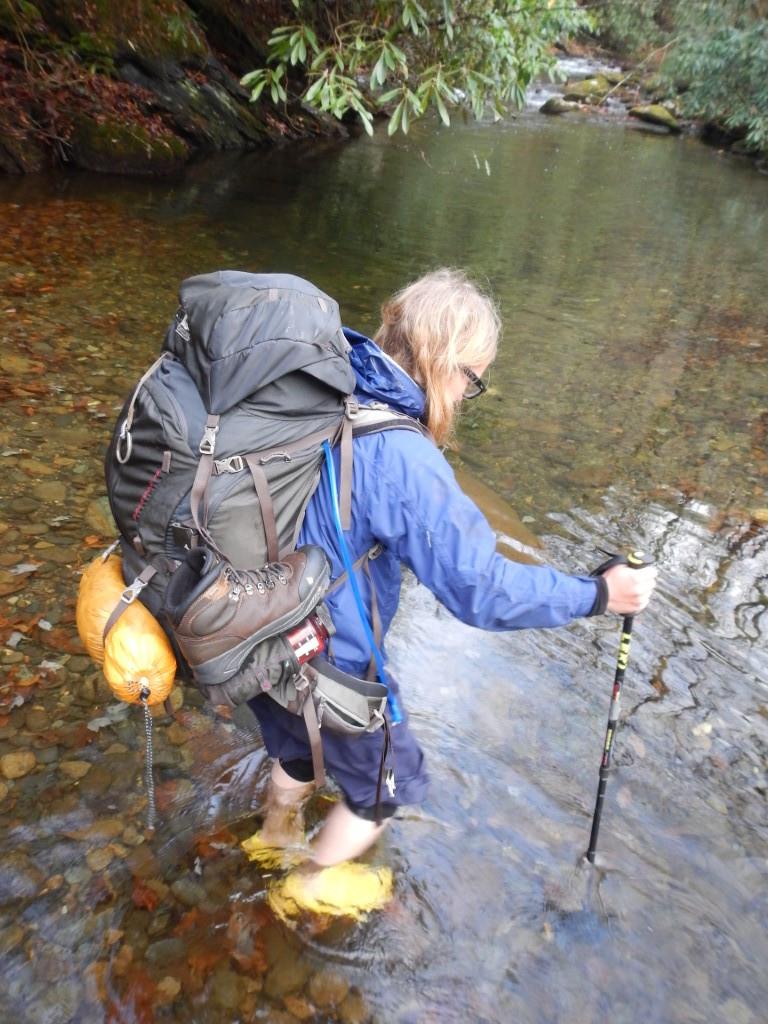 Backpacking Across a Creek