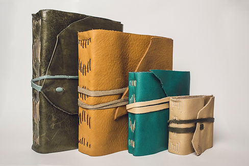 collection of leather journals