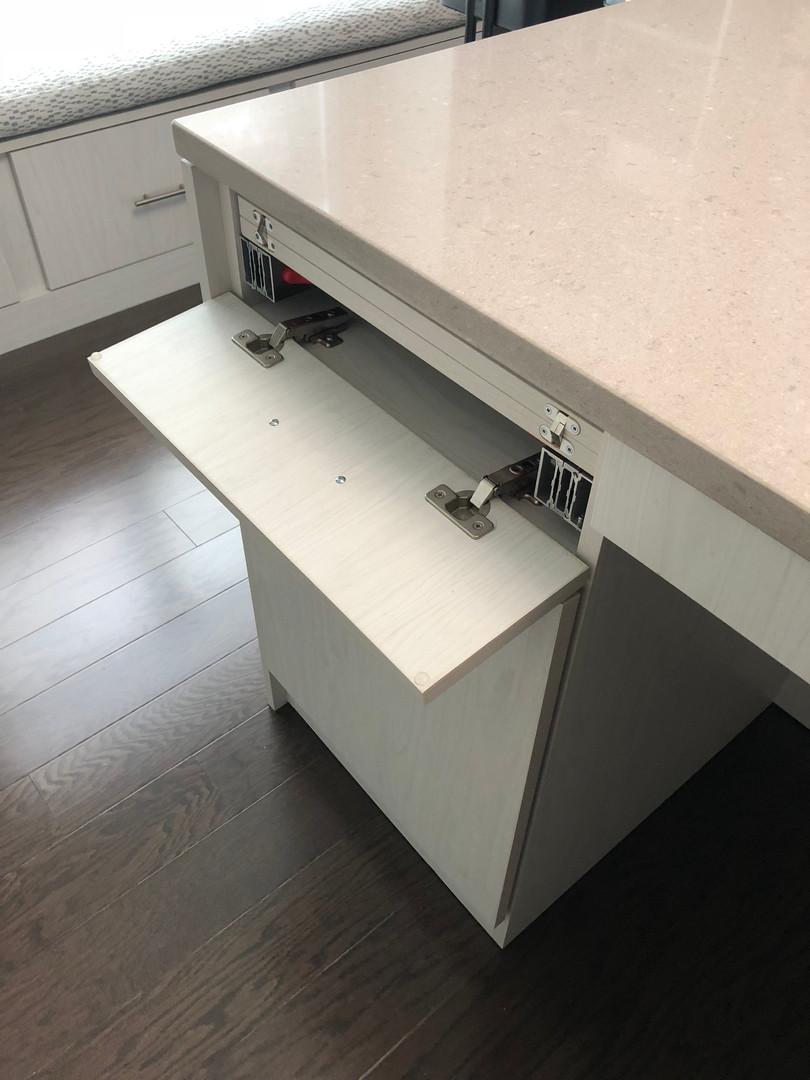 Flip down drawer front