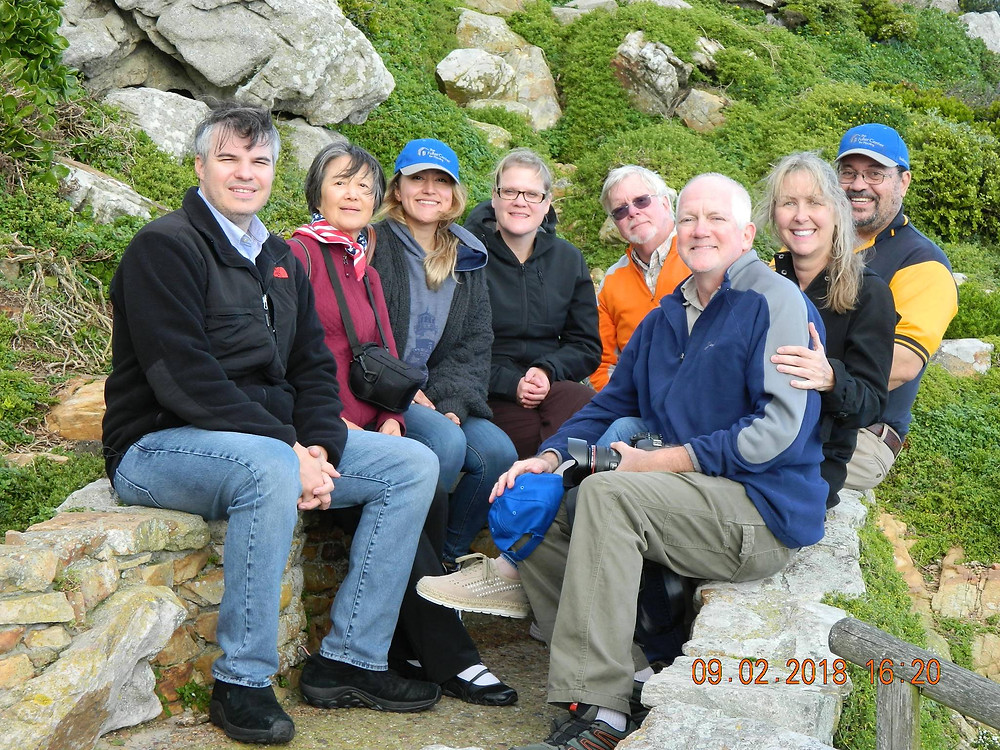 From left to right: Maury, Dolly, Alex, Beth, Alex (Team Leader), Louis (President & CEO of FCHWC), Sally & Bob, at Cape Point, Cape Town, South Africa, where the two oceans meet.