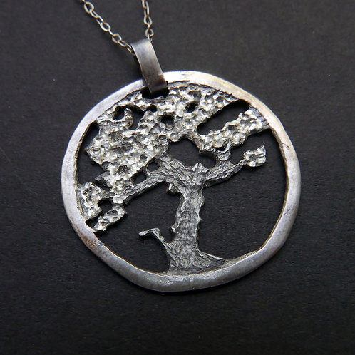 Tree Necklace No 2 Bonsai Pendant Made From Recycled Coin Silver