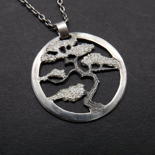 Tree Necklace No 12 Bonsai Pendant From Recycled Silver Coin