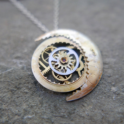 """Crescent Moon Watch Dial Necklace """"Biruni"""" Cut Face Mothers Day Gift"""