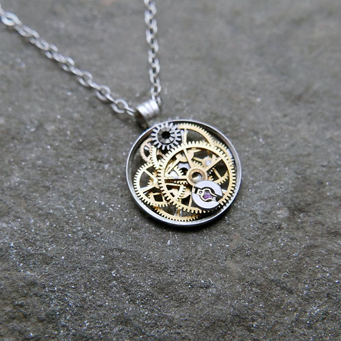 """Petite Circular Watch Gear Necklace """"Eltanin"""" Elegant Mothers Day Gift"""