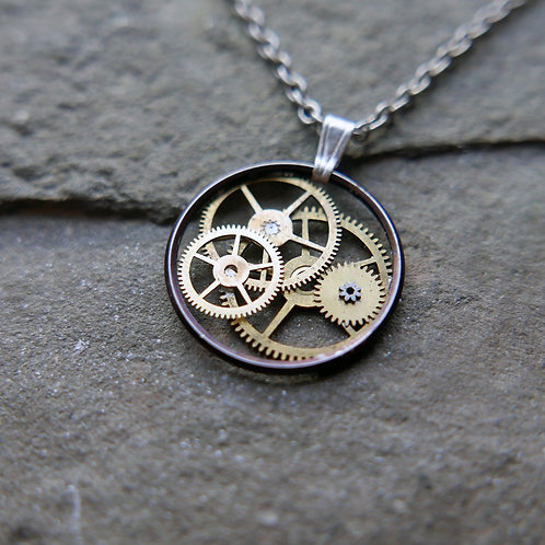 """Watch Gear Necklace """"Masani"""" Recycled Mechanical Watch Parts Mothers Day Gift"""