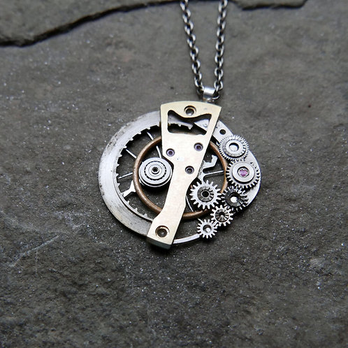 """Watch Parts Pendant """"Intercrus"""" Recycled Mechanical Clockwork Mothers Day Gift"""