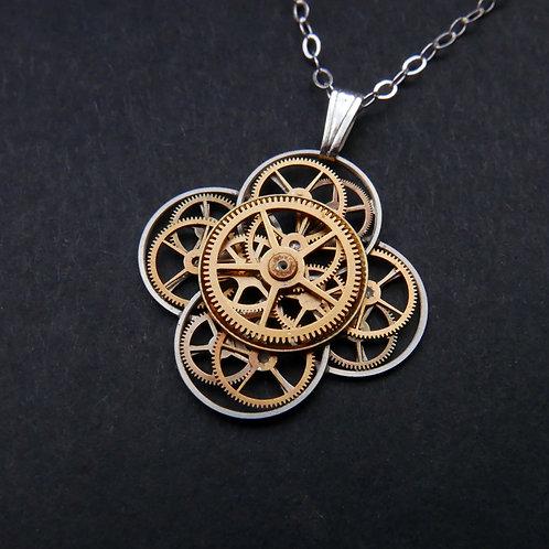 Watch Parts Flower Necklace Benveniste Pendant Clockwork Christmas Gift