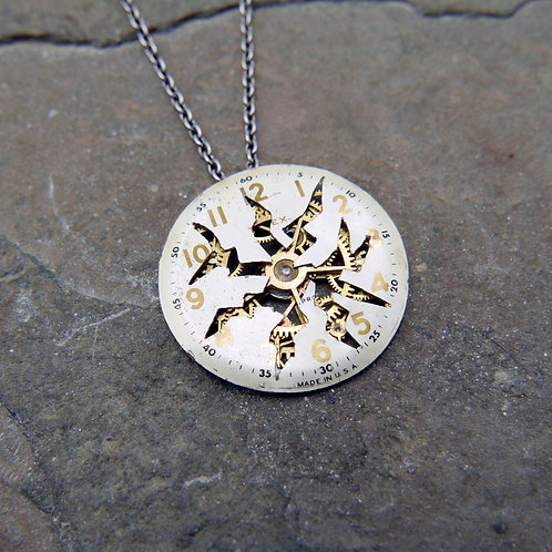 """Deconstructed Watch Dial Necklace """"Behring"""" Cut Face Pendant Mothers Day Gift"""