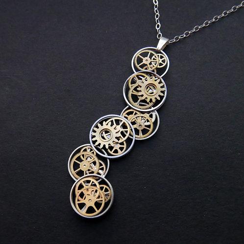 Cascading Watch Gear Necklace Soque Elegant Steampunk Pendant