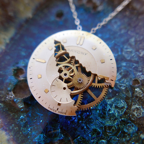 "Watch Dial Necklace ""Bouvard"" Cut Face Clockwork Pendant Mothers Day Gift"