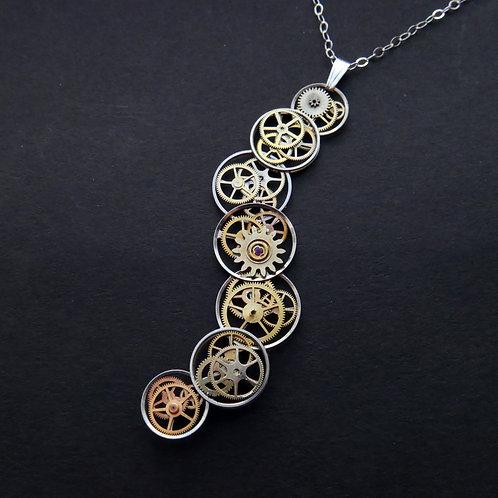 Cascading Watch Gear Necklace Tallulah Elegant Steampunk Pendant