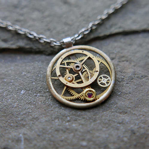 """Watch Gear Necklace """"Maia"""" Recycled Mechanical Watch Parts Mothers Gift"""