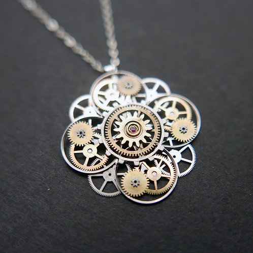 "Watch Parts Flower Necklace ""Parmentier"" Pendant Clockwork Steampunk Mothers Day"