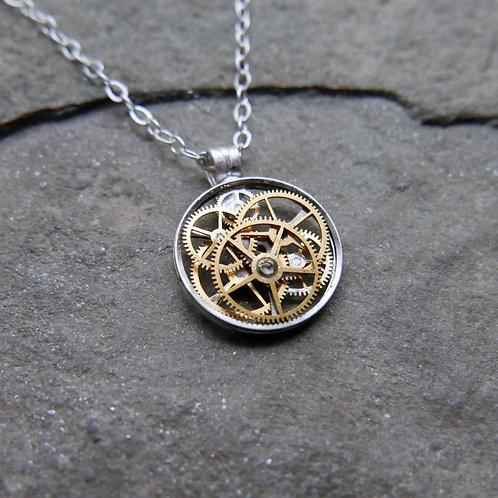 "Petite Circular Watch Gear Necklace ""Brachium"" Elegant Mothers Day Gift"
