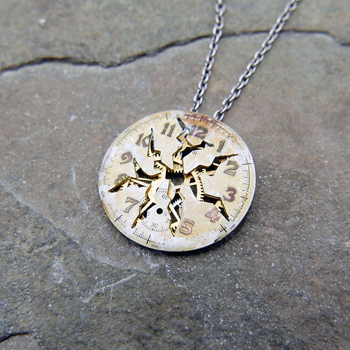 "Deconstructed Watch Dial Necklace ""Elion"" Cut Face Mothers Day Gift"
