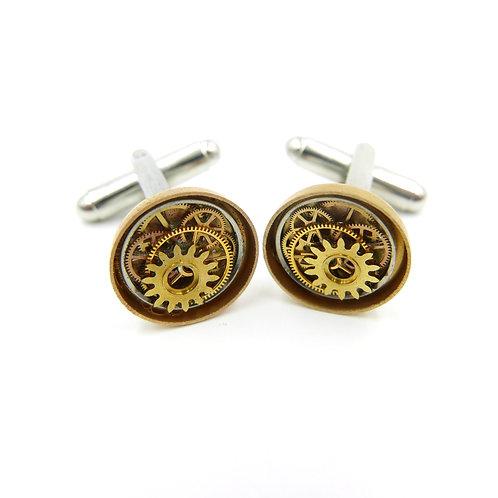 Watch Gear Cufflinks Model Thirty-Eight Clockwork Mechanical Cuff Links