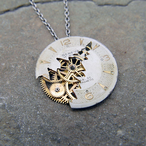 """Deconstructed Watch Dial Necklace """"Descartes"""" Cut Face Pendant Mothers Day Gift"""