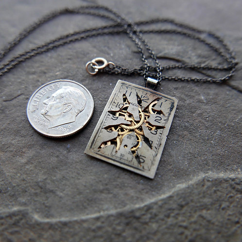 """Deconstructed Watch Dial Necklace """"Irwin"""" Cut Face Pendant Mothers Day Gift"""